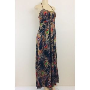 Poetry Maxi Halter Dress M Stretch Peacock Feather